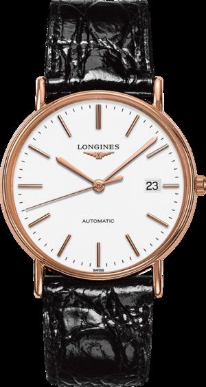 Armbanduhr Longines Présence Automatik 38,5mm mit weißem Zifferblatt und Kalbsleder-Armband