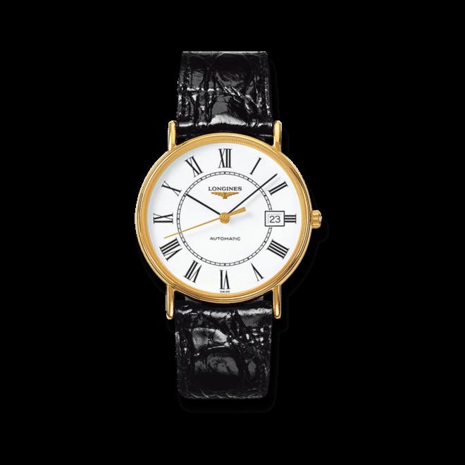 Armbanduhr Longines Présence Automatik 38,5mm mit weißem Zifferblatt und Kalbsleder-Armband bei Brogle