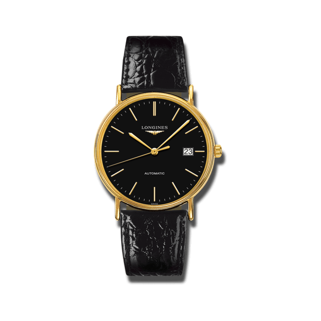 Herrenuhr Longines Présence Automatik 38,5mm mit schwarzem Zifferblatt und Kalbsleder-Armband