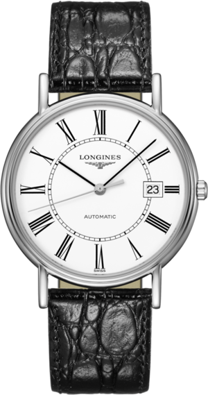 Armbanduhr Longines Présence Automatik 38,5mm mit weißem Zifferblatt und Rindsleder-Armband