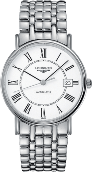 Armbanduhr Longines Présence Automatik 38,5mm mit weißem Zifferblatt und Edelstahlarmband
