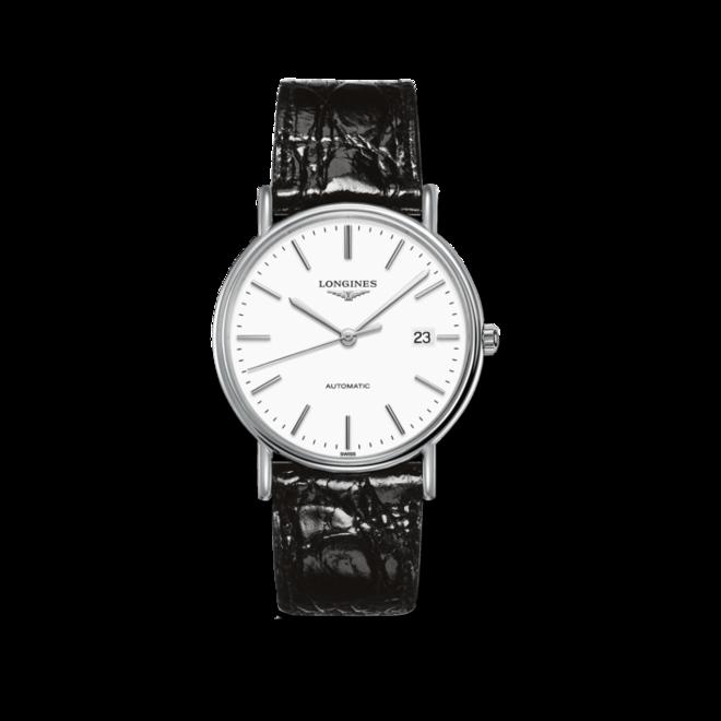Armbanduhr Longines Présence Automatik 38,5mm mit weißem Zifferblatt und Rindsleder-Armband bei Brogle