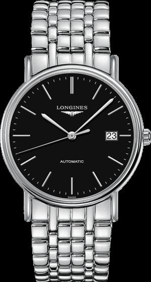 Armbanduhr Longines Présence Automatik 38,5mm mit schwarzem Zifferblatt und Edelstahlarmband