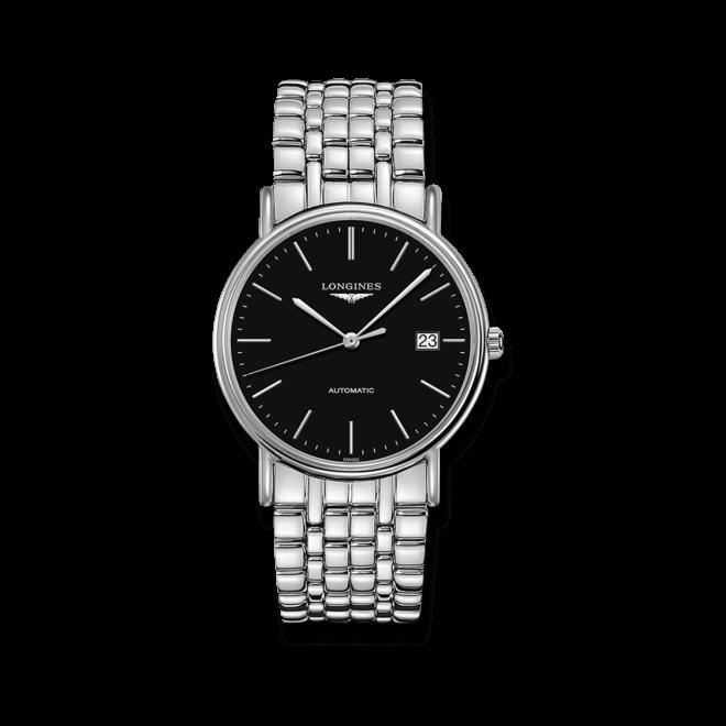 Armbanduhr Longines Présence Automatik 38,5mm mit schwarzem Zifferblatt und Edelstahlarmband bei Brogle