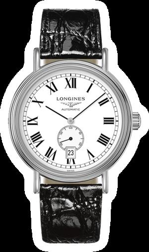 Armbanduhr Longines Présence Automatik 40mm mit weißem Zifferblatt und Armband aus Kalbsleder mit Krokodilprägung
