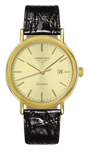 Armbanduhr Longines Présence Automatik 40mm mit gelbgoldfarbenem Zifferblatt und Armband aus Kalbsleder mit Krokodilprägung