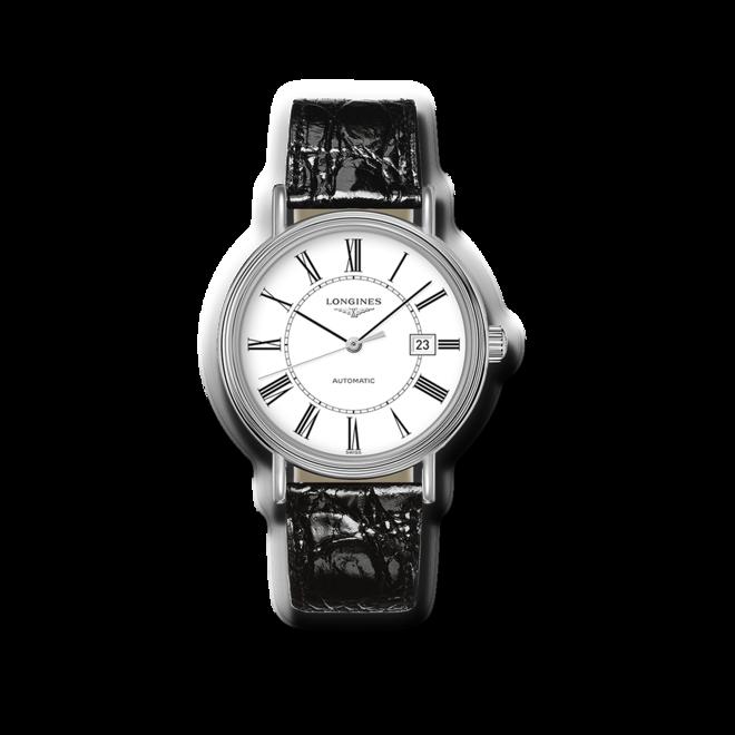 Armbanduhr Longines Présence Automatik 40mm mit weißem Zifferblatt und Armband aus Kalbsleder mit Krokodilprägung bei Brogle