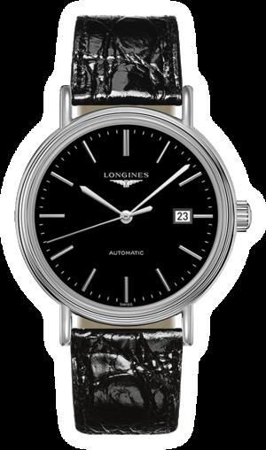 Armbanduhr Longines Présence Automatik 40mm mit schwarzem Zifferblatt und Armband aus Kalbsleder mit Krokodilprägung