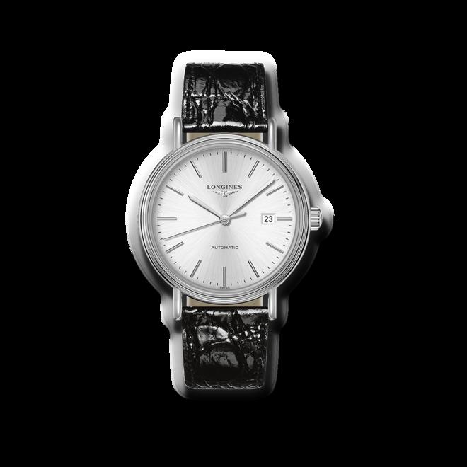 Armbanduhr Longines Présence Automatik 40mm mit silberfarbenem Zifferblatt und Armband aus Kalbsleder mit Krokodilprägung bei Brogle