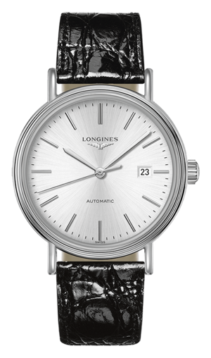 Armbanduhr Longines Présence Automatik 40mm mit silberfarbenem Zifferblatt und Armband aus Kalbsleder mit Krokodilprägung