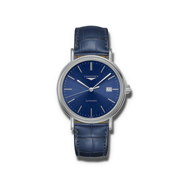 Armbanduhr Longines Présence Automatik 40mm mit blauem Zifferblatt und Armband aus Kalbsleder mit Krokodilprägung bei Brogle