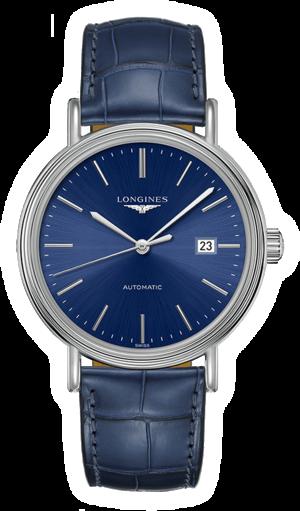 Armbanduhr Longines Présence Automatik 40mm mit blauem Zifferblatt und Armband aus Kalbsleder mit Krokodilprägung