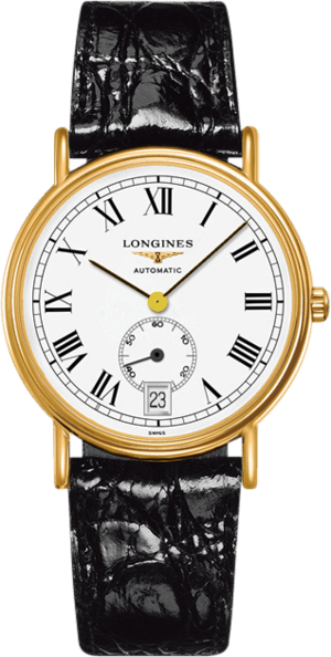 Armbanduhr Longines Présence Automatik kleine Sekunde 38,5mm mit weißem Zifferblatt und Rindsleder-Armband