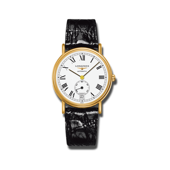 Armbanduhr Longines Présence Automatik kleine Sekunde 38,5mm mit weißem Zifferblatt und Rindsleder-Armband bei Brogle