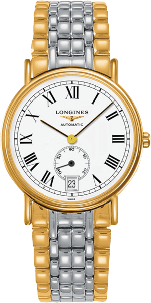 Armbanduhr Longines Présence Automatik kleine Sekunde 38,5mm mit weißem Zifferblatt und Edelstahlarmband