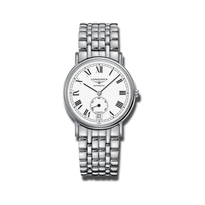 Armbanduhr Longines Présence Automatik kleine Sekunde 38,5mm mit weißem Zifferblatt und Edelstahlarmband bei Brogle