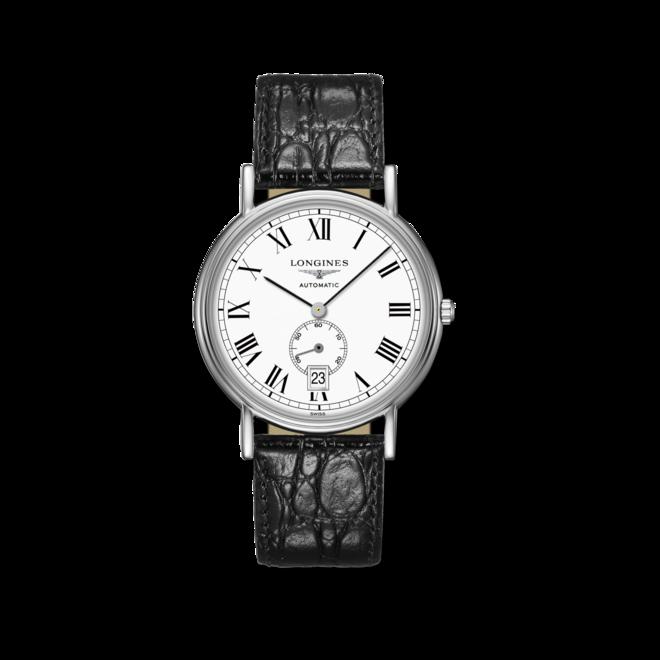 Armbanduhr Longines Présence Automatik kleine Sekunde 38,5mm mit weißem Zifferblatt und Armband aus Kalbsleder mit Krokodilprägung bei Brogle