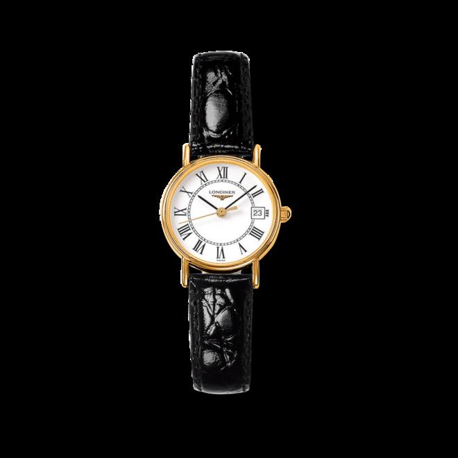 Damenuhr Longines Présence Quarz 23,5mm mit weißem Zifferblatt und Kalbsleder-Armband bei Brogle
