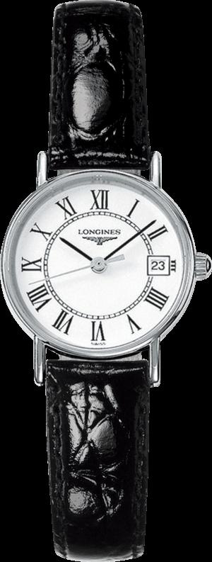 Damenuhr Longines Présence Quarz 23,5mm mit weißem Zifferblatt und Kalbsleder-Armband