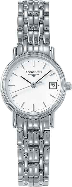 Damenuhr Longines Présence Quarz 23,5mm mit weißem Zifferblatt und Edelstahlarmband
