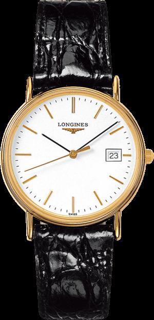 Damenuhr Longines Présence Quarz 33mm mit weißem Zifferblatt und Kalbsleder-Armband