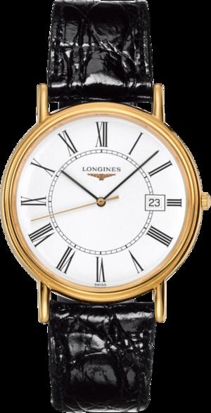 Herrenuhr Longines Présence Quarz 38,5mm mit weißem Zifferblatt und Alligatorenleder-Armband