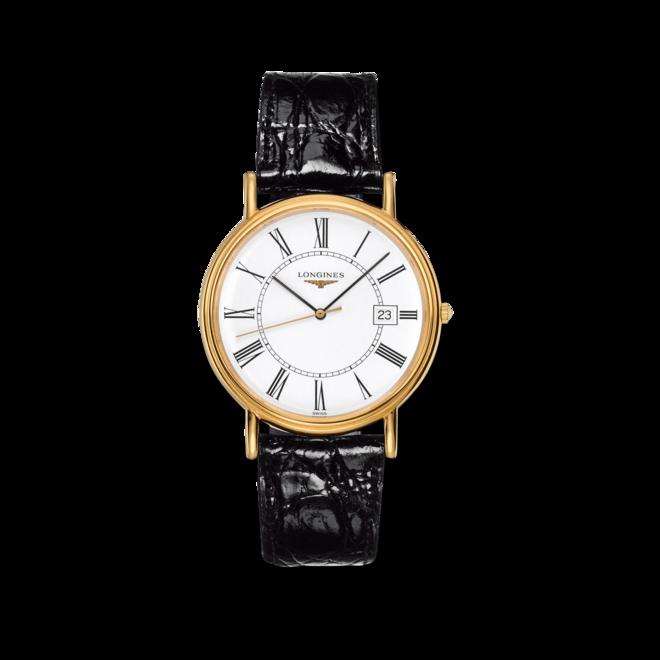 Herrenuhr Longines Présence Quarz 38,5mm mit weißem Zifferblatt und Alligatorenleder-Armband bei Brogle