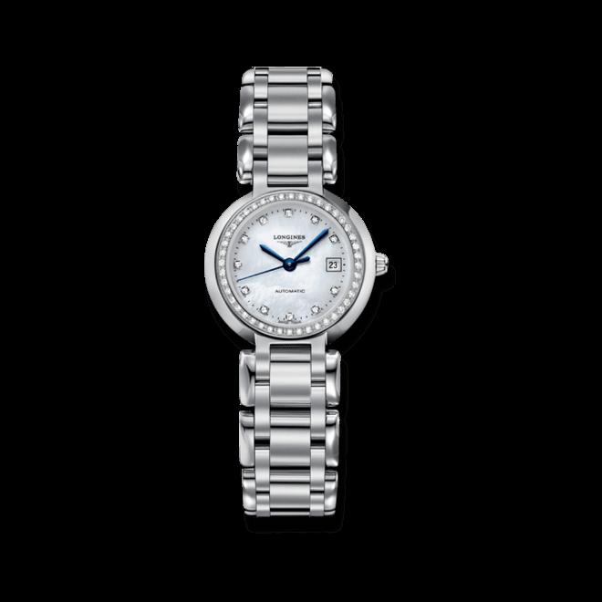 Damenuhr Longines PrimaLuna Automatik 26,5mm mit Diamanten, weißem Zifferblatt und Edelstahlarmband bei Brogle