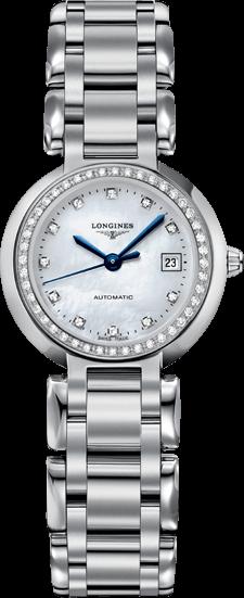 Damenuhr Longines PrimaLuna Automatik 26,5mm mit Diamanten, weißem Zifferblatt und Edelstahlarmband