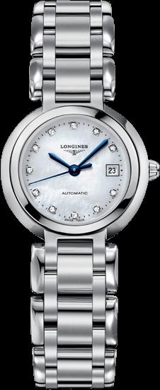 Damenuhr Longines PrimaLuna Automatik 26,5mm mit Diamanten, perlmuttfarbenem Zifferblatt und Edelstahlarmband