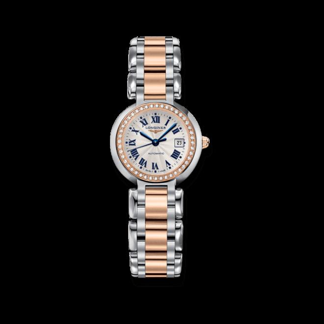 Damenuhr Longines PrimaLuna Automatik 26,5mm mit Diamanten, silberfarbenem Zifferblatt und Edelstahlarmband bei Brogle