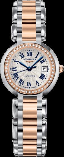 Damenuhr Longines PrimaLuna Automatik 26,5mm mit Diamanten, silberfarbenem Zifferblatt und Edelstahlarmband