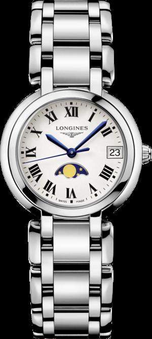 Damenuhr Longines PrimaLuna Mondphase Quarz 30mm mit weißem Zifferblatt und Edelstahlarmband