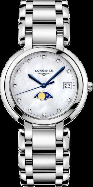 Damenuhr Longines PrimaLuna Mondphase Quarz 34mm mit Diamanten, perlmuttfarbenem Zifferblatt und Edelstahlarmband