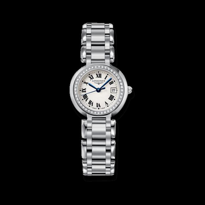 Damenuhr Longines PrimaLuna Quarz 26,5mm mit Diamanten, silberfarbenem Zifferblatt und Edelstahlarmband bei Brogle