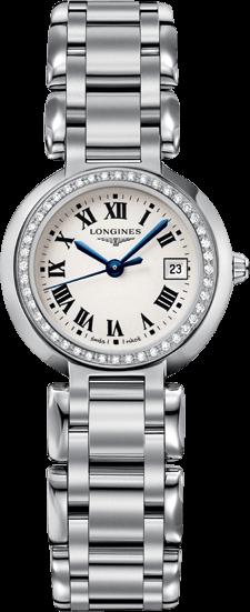 Damenuhr Longines PrimaLuna Quarz 26,5mm mit Diamanten, silberfarbenem Zifferblatt und Edelstahlarmband