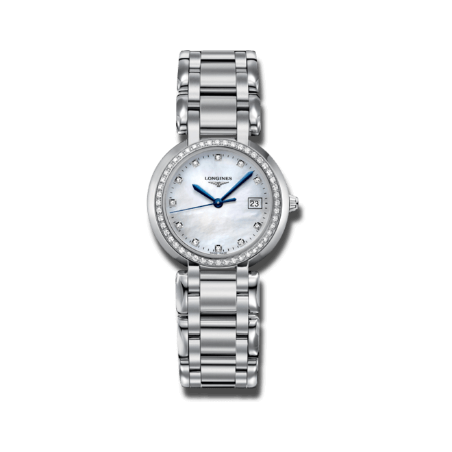 Damenuhr Longines PrimaLuna Quarz 30mm mit Diamanten, perlmuttfarbenem Zifferblatt und Edelstahlarmband