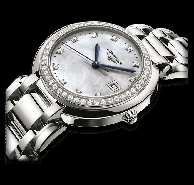 Damenuhr Longines PrimaLuna Quarz 30mm mit Diamanten, perlmuttfarbenem Zifferblatt und Edelstahlarmband bei Brogle