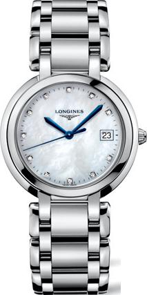 Damenuhr Longines PrimaLuna Quarz 34mm mit Diamanten, perlmuttfarbenem Zifferblatt und Edelstahlarmband