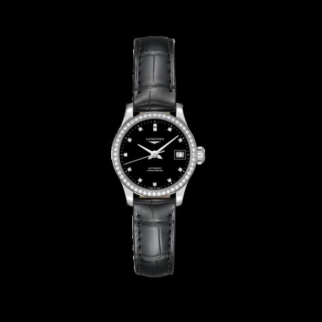 Damenuhr Longines Record Automatik Chronometer 26mm mit Diamanten, schwarzem Zifferblatt und Alligatorenleder-Armband bei Brogle