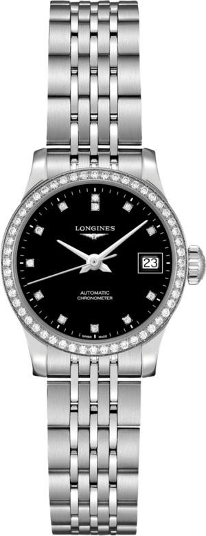 Damenuhr Longines Record Automatik Chronometer 26mm mit Diamanten, schwarzem Zifferblatt und Edelstahlarmband