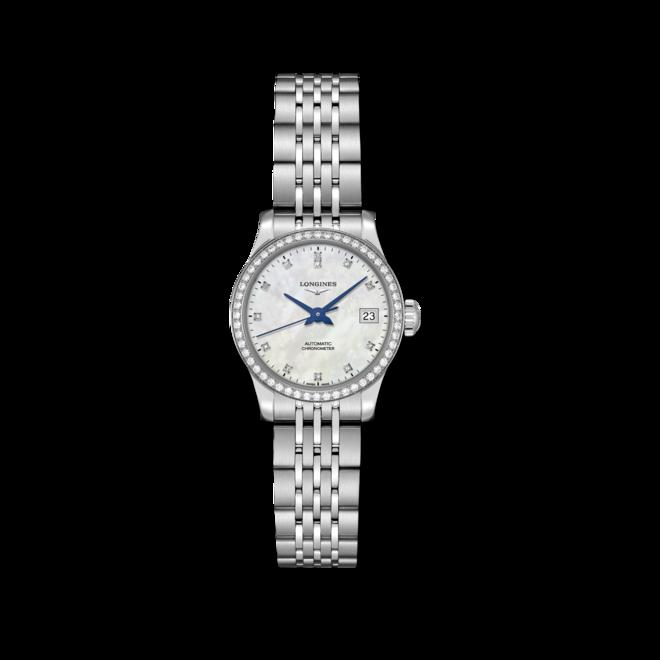 Damenuhr Longines Record Automatik Chronometer 26mm mit Diamanten, perlmuttfarbenem Zifferblatt und Edelstahlarmband bei Brogle