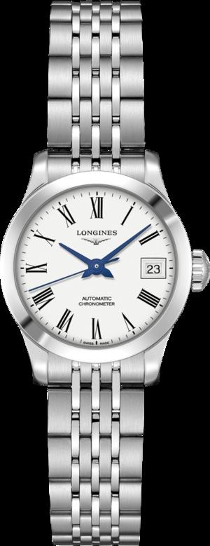 Damenuhr Longines Record Automatik Chronometer 26mm mit weißem Zifferblatt und Edelstahlarmband