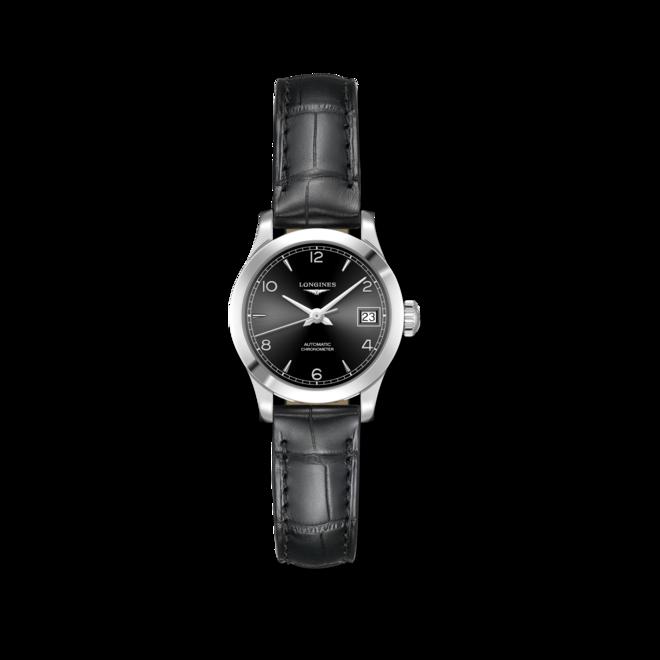 Damenuhr Longines Record Automatik Chronometer 26mm mit schwarzem Zifferblatt und Alligatorenleder-Armband bei Brogle