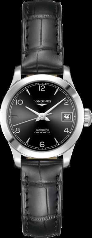 Damenuhr Longines Record Automatik Chronometer 26mm mit schwarzem Zifferblatt und Alligatorenleder-Armband