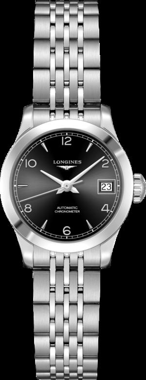 Damenuhr Longines Record Automatik Chronometer 26mm mit schwarzem Zifferblatt und Edelstahlarmband