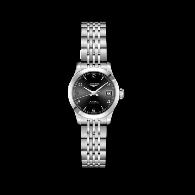 Damenuhr Longines Record Automatik Chronometer 26mm mit schwarzem Zifferblatt und Edelstahlarmband bei Brogle