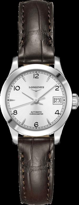Damenuhr Longines Record Automatik Chronometer 26mm mit silberfarbenem Zifferblatt und Alligatorenleder-Armband