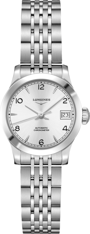 Damenuhr Longines Record Automatik Chronometer 26mm mit silberfarbenem Zifferblatt und Edelstahlarmband