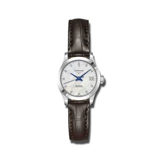 Damenuhr Longines Record Automatik Chronometer 26mm mit Diamanten, perlmuttfarbenem Zifferblatt und Alligatorenleder-Armband bei Brogle